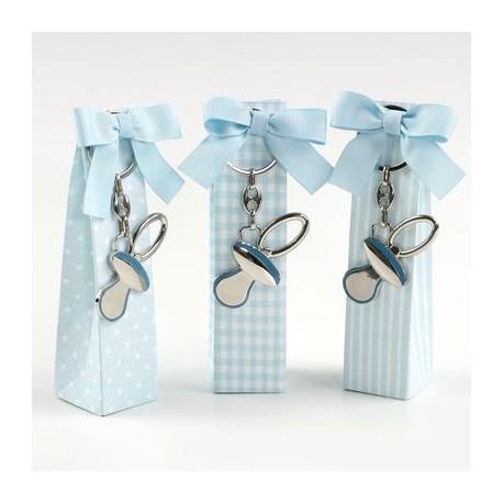 Caja topos, rayas y cuadros azul llavero chupete