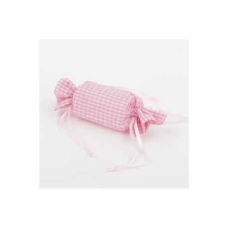 Bolsa caramelo vichy rosa