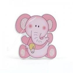 Colgante madera elefante rosa