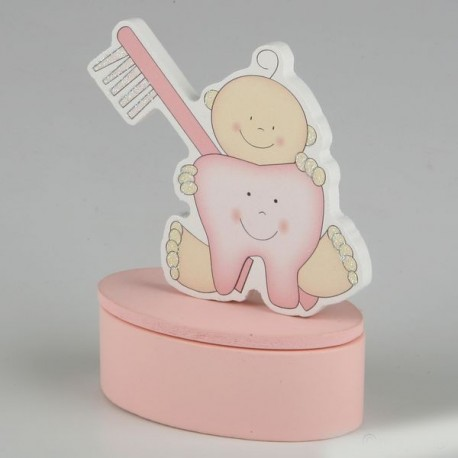 Cajita con imán diente rosa