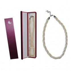 Colgante triple de perlas blancas + caja madera (8524)