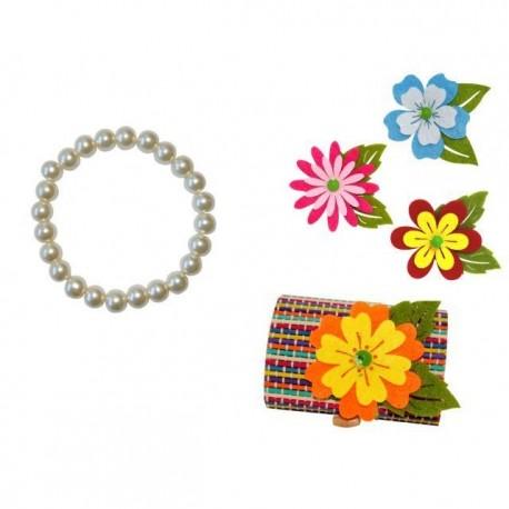 Pulsera de perlas blancas + caja madera y flor fieltro (8516+8500)