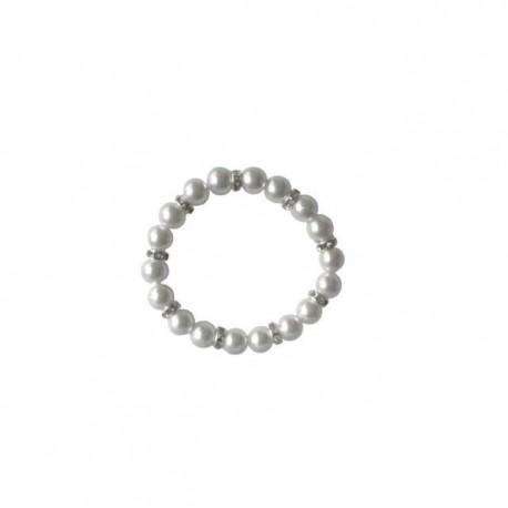 Pulsera de perlas blancas con brill.