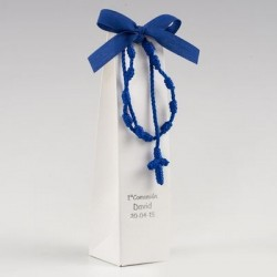 Estuche rosario-pulsera azul