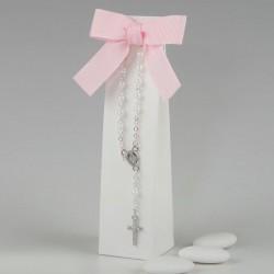 Pulsera rosario en caja con 3 peladillas choc