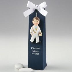 Imán comunión niño almirante blanco caja azul