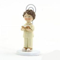 Sujeta tarjetas niño traje beige Comunión