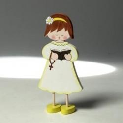 Figura de tarta madera niña comunión cantando