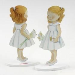 Figura de tarta metal niña vestido blanco