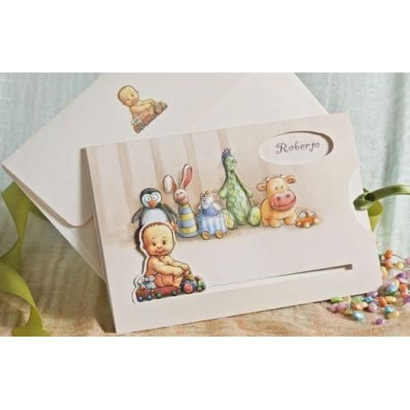 Invitación de bautizo niño juguetes
